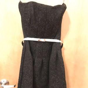 Black strapless baroque patterned cocktail dress